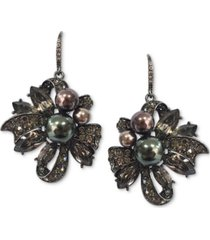 charter club hematite-tone mixed crystal & imitation pearl ribbon cluster drop earrings, created for macy's