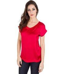 blusa ampla básica manga curta decote arredondado realist feminina