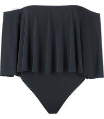 brigitte off shoulder swimsuit - black