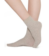 calzedonia - short ribbed socks with cotton and cashmere, 39-41, nude, women