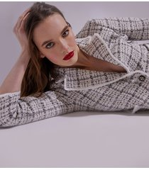 motivi giacca in tweed fantasia check donna bianco