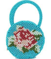 shrimps rose pearl-embellished clutch bag - blue