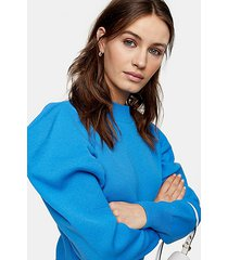 blue exaggerated sleeve knitted sweatshirt - blue