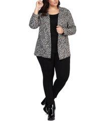 black tape plus size leopard-print open-front blazer
