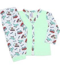 conjunto pijama bebê com botões toys verde - look infantil