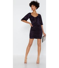 womens feeling ruched satin dress - violet
