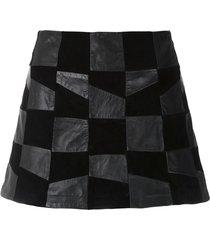 andrea bogosian leather raise skorts - black