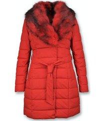 donsjas gentile bellini lange parka winterjas - met rode bontkraag -