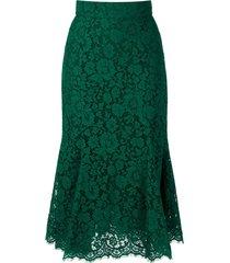 dolce & gabbana lace mid-length skirt - green