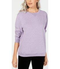 karen scott petite fleece crewneck sweatshirt, created for macy's
