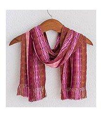 rayon chenille scarf, 'pomegranate passion' (guatemala)