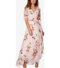 sage collective petite floral wrap maxi dress