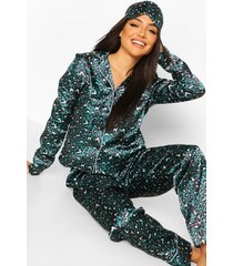 5-delige satijnen luipaardprint pyjama set, smaragd