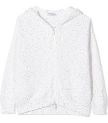 brunello cucinelli white silk and cotton cardigan