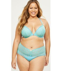 lane bryant women's cross-dyed lace wide-side thong panty 22/24 maui blue