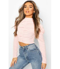 petite ribbed puff sleeve ruched top, blush