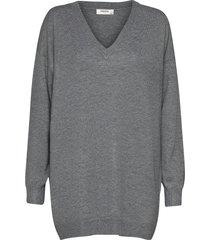 galine rachelle v neck pullover stickad tröja grå moss copenhagen
