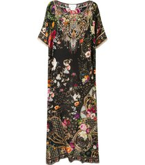 camilla printed silk kaftan dress - black