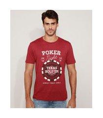"""camiseta masculina poker night"""" manga curta gola careca vinho"""""""