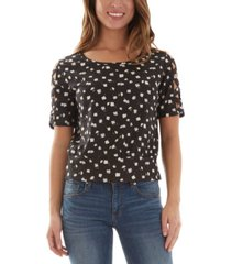 bcx juniors' floral lattice sleeve top