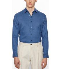 boss men's stretch-linen slim-fit shirt