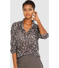 blouse met dessin alba moda taupe::roze