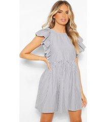 frill sleeve stripe mini dress, dark blue