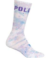 polo ralph lauren women's splatter-print sport crew socks