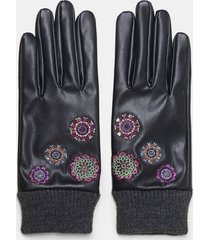 embroidered synthetic leather gloves - black - u