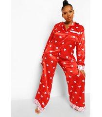plus satijnen valentijns hartjes pyjama, red