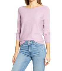 women's halogen back detail sweater, size medium - purple