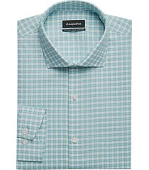 esquire green & blue plaid slim fit dress shirt