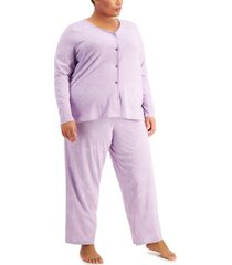 charter club plus size printed cotton pajama set, created for macy's