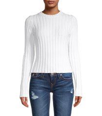 vince women's long-sleeve cotton-blend ribbed sweater - pink - size s