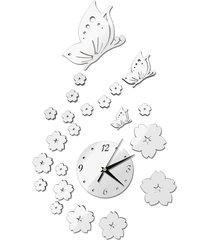 espejo de pared pegatinas reloj patrón butterfly ca005 salón decoració