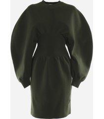 bottega veneta stretch wool dress with voluminous sleeves