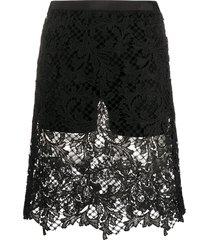 sacai crochet knit shorts - black