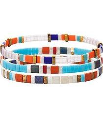 luxe emma 3-piece goldtone & enamel stretch bracelet set
