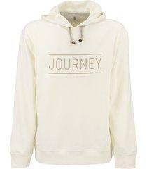 brunello cucinelli cotton sweatshirt with hood and print