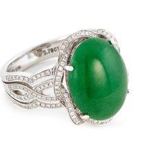 'cab' diamond jade 18k white gold ring