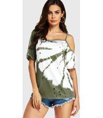 verde militar tie-dye hollow diseño one camiseta para hombros