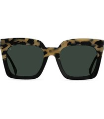 women's raen vine 54mm polarized square sunglasses - chai/ green