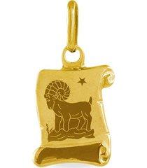 ciondolo in oro giallo pergamena segno zodiacale ariete per unisex