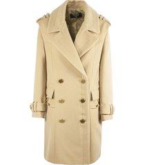 balmain camel brown wool blend coat