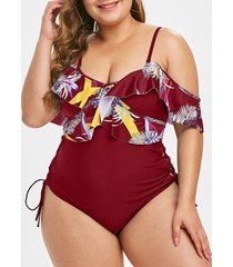 plus size palm print lace up ruffled one-piece swimsuit