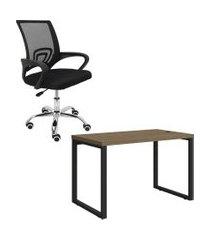 mesa escritório kappesberg 1.20m com cadeira executiva trevalla tl-cde-26-1