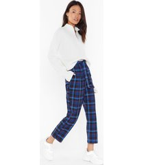 womens we plaid fair belted check pants - navy