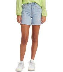 levi's cotton 501 mid-thigh distressed denim shorts