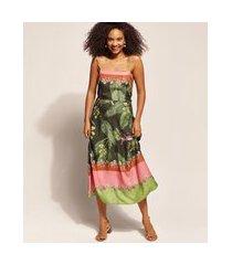 vestido feminino emi beachwear midi estampado bananeiras com alça fina e decote reto verde escuro