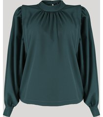 blusa feminina mindset ampla manga bufante gola alta verde escuro